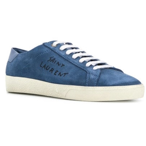 c4889d5a310 Yves Saint Laurent Shoes | Ysl Blue Suede Court Sneakers Worn Twice ...